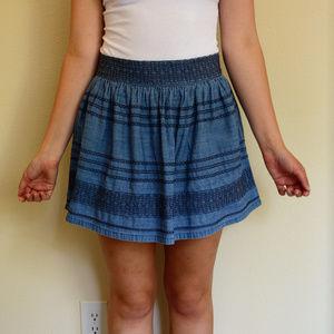 Embroidered Denim Miniskirt